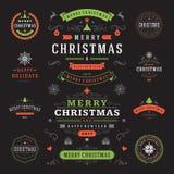 Jul märker och förser med märke uppsättningen för vektordesignbeståndsdelar Arkivfoto