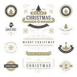 Jul märker och förser med märke uppsättningen för vektordesignbeståndsdelar Arkivbild