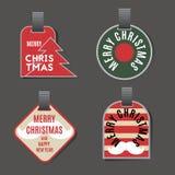 Jul märker samlingen med trädet, bollen, band, mustaschen och önska för nytt år royaltyfri illustrationer