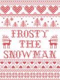 Jul mönstrar frostigt den sömlösa modellen för snögubben som inspireras vid festlig vinter för nordisk kultur i arg häftklammer m royaltyfri illustrationer