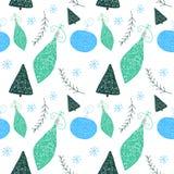 Jul mönstrar med julträdet och bollar i handen dragen gullig stil royaltyfri illustrationer