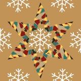 Jul mönstrar med snöflingor och färgrika pappers- stjärnor Vektor Illustrationer