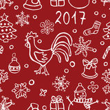 jul mönstrar med tuppen Royaltyfri Illustrationer
