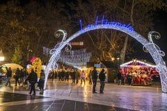 Jul marknadsför, Montpellier, Frankrike arkivfoto