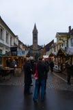 Jul marknadsför i den gamla staden av Potsdam Arkivbilder