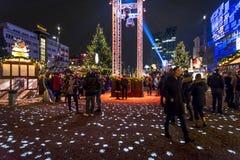 Jul marknadsför i Kiezen, Reeperbahn, Hamburg, Tyskland arkivfoto