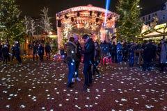 Jul marknadsför i Kiezen, Reeperbahn, Hamburg, Tyskland arkivbild