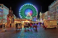 Jul marknadsför på den Nytorv fyrkanten av Köpenhamnen Arkivbilder