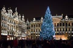 Jul marknadsför på Grand Place, Bryssel, Begium Arkivbilder