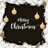Jul med den guld dekorerade bollen sörjer filialer royaltyfri illustrationer