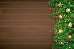Jul med granfilialen på brun träbakgrund Utrymme för bästa sikt och för kopia för vektorillustration för text Bruk för hälsningko vektor illustrationer