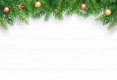 Jul med granfilialen på vit träbakgrund Utrymme för bästa sikt och för kopia för vektorillustration för text Bruk för hälsningkor vektor illustrationer