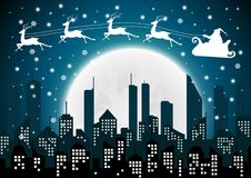 Jul med Santa Silhouette av staden och natten royaltyfri illustrationer