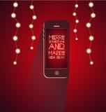 Jul med smartphonen Royaltyfri Fotografi