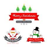 jul 043-Merry smsar kalligrafi med tecknad filmgarnering fo Arkivfoto