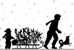 jul min version för portföljtreevektor royaltyfri illustrationer