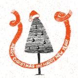 jul min version för portföljtreevektor Kort för tappningvektorXmas Arkivbild