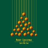 jul min version för portföljtreevektor Räcka bollar Apelsin stock illustrationer
