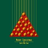 jul min version för portföljtreevektor Räcka bollar Apelsin Arkivfoto
