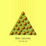jul min version för portföljtreevektor Räcka bollar Apelsin vektor illustrationer
