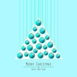 jul min version för portföljtreevektor Räcka bollar Gräsplan Royaltyfria Bilder
