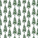 jul min version för portföljtreevektor seamless modell Spruce skog Arkivbilder