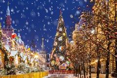 jul moscow Julgran på röd fyrkant Arkivfoton
