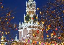 jul moscow Ny dekorerad röd fyrkant för års` s fotografering för bildbyråer