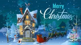 Jul Natt av, Santa Claus och hans rensläde med släden Vintertid, sats familjhuset för en ferie dåligt stock illustrationer
