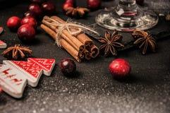 Jul nytt år, kanel, anis, bakgrund Arkivfoto