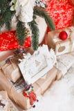 Jul nytt år, röd jul klumpa ihop sig Royaltyfri Bild