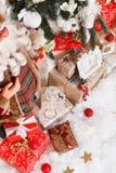 Jul nytt år, röd jul klumpa ihop sig Royaltyfri Fotografi
