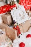 Jul nytt år, röd jul klumpa ihop sig Arkivbild