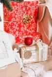 Jul nytt år, röd jul klumpa ihop sig Arkivfoton