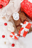 Jul nytt år, röd jul klumpa ihop sig Royaltyfri Foto