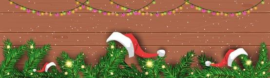 Jul och banret för dekorativ ferie för affisch för nytt år horisontalsörjer trädfilialer på träbakgrund vektor illustrationer