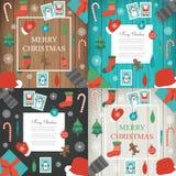 Jul och beståndsdeluppsättning för nytt år Alla element is lager separat i mapp vektor stock illustrationer