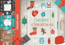 Jul och beståndsdeluppsättning för nytt år Alla element is lager separat i mapp vektor royaltyfri illustrationer