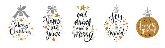 Jul och bokstäver- och kalligrafiuttryck för nytt år ställde in stock illustrationer