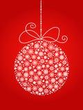 Jul och boll för nytt år som göras från snöflingor Det kan vara nödvändigt för kapacitet av designarbete Arkivbilder