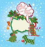 Jul och det nya året semestrar kortet med rolig sc Arkivfoto