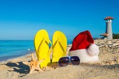 Jul och det nya året semestrar på havet Arkivfoto