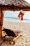 Jul och det nya året semestrar på stranden Fotografering för Bildbyråer