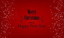 Jul och det nya året som är typografiska på röd bakgrund med guld, blänker textur stock illustrationer