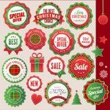 Jul och emblem och element för nytt år royaltyfri illustrationer