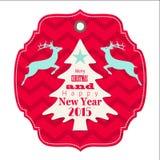 Jul och etikett för nytt år 2015 med renen royaltyfri illustrationer