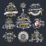 2019 jul och etiketter och gränser för nytt år royaltyfri illustrationer