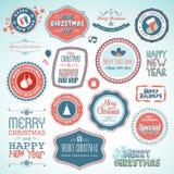 Jul och etiketter och element för nytt år royaltyfri illustrationer