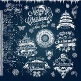 Jul och etiketter och gränser för nytt år royaltyfri illustrationer
