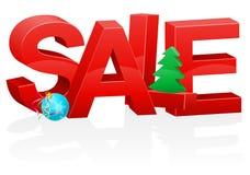 Jul och för inskriftförsäljning för nytt år volymetrisk röd vektor il Arkivfoton